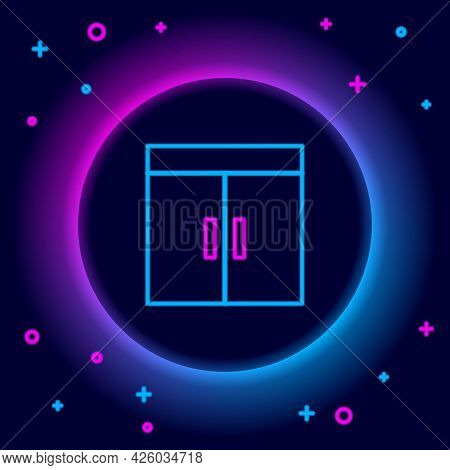 Glowing Neon Line Wardrobe Icon Isolated On Black Background. Colorful Outline Concept. Vector