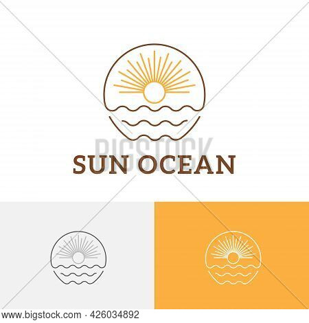 Sun Sunburst Sea Wave Monoline Vintage Travel Logo