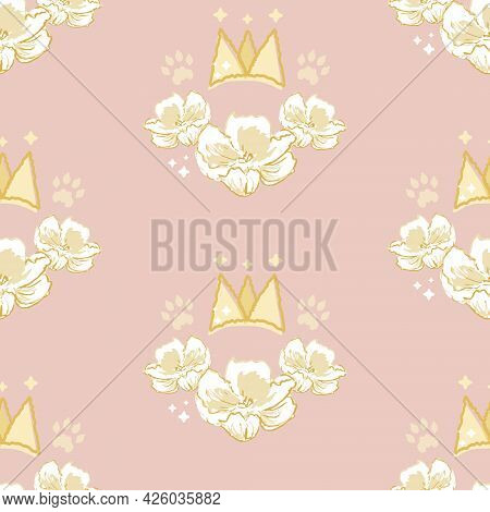 Vector Cute Princess Flower Crown On Dusty Pink Seamless Pattern Background. Perfect For Fabric, Scr