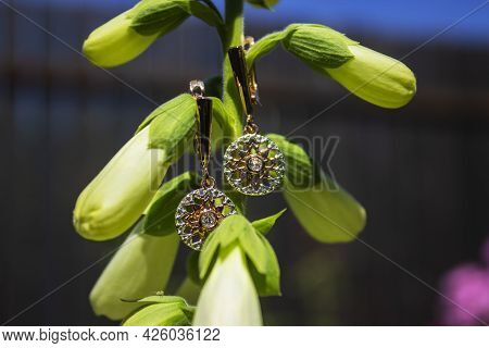 Elegant Red Gold Earrings Floral Jewelry For Women Isolated On White Background, Clipping Path Inclu