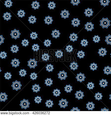 Line Islamic Octagonal Star Ornament Icon Isolated Seamless Pattern On Black Background. Vector