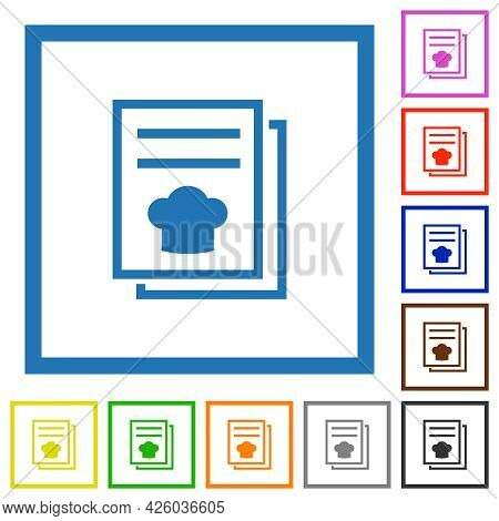 Cookbook With Chef Hat Flat Color Icons In Square Frames On White Background