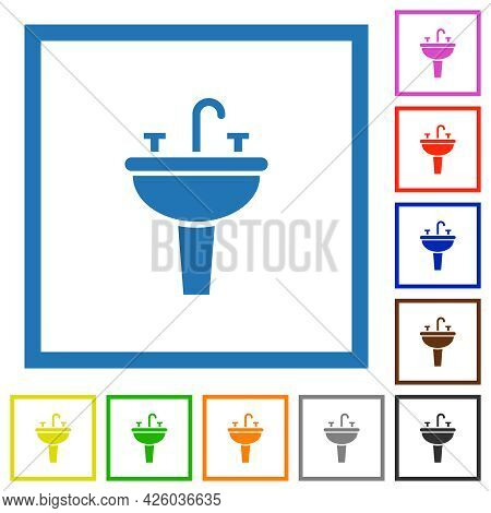 Sink Flat Color Icons In Square Frames On White Background