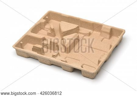 Molded pulp protective packaging tray isolated on white