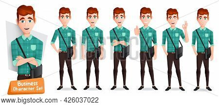 Business Man Characters Vector Set. Businessman Male Character With Sling Bag In Standing Pose, Thum
