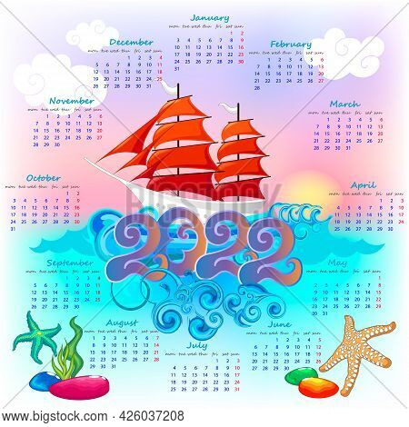 Wall Calendar For New Year 2022 With Sailboat On Sunset Background