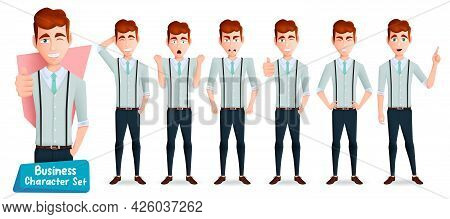 Business Man Boss Character Vector Set. Businessman Male Characters With Happy, Angry And Upset Expr