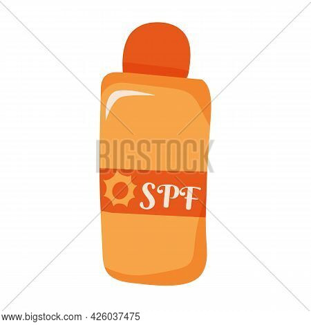 Vector Illustration Of Sunscreen Spray In Cartoon Hand Drawn Flat Style. Summer Spf Cream