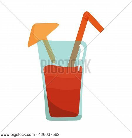 Vector Illustration Of Red Cocktail With Cocktail Umbrella And Straw In Cartoon Flat Style. Refreshi