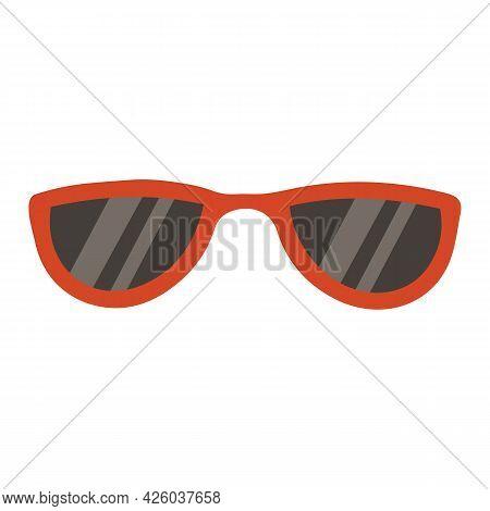 Vector Illustration Of Red Sunglasses In Cartoon Retro Flat Style. Summer Accessories, Sun Protectio