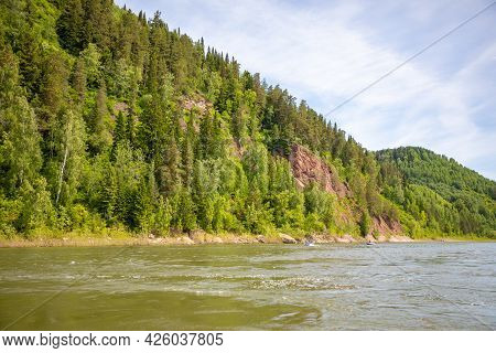 River Tom Flowing Through The Taiga Forests, South Siberia, Russia