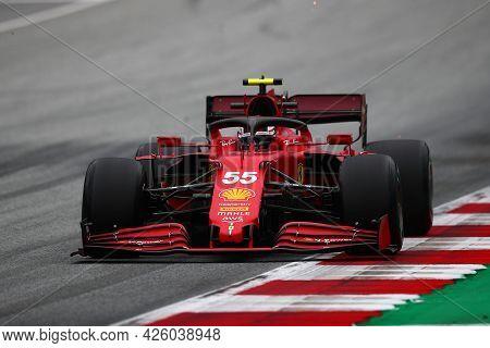 Spielberg, Austria. 2 July 2021.  Carlos Sainz Jr. Of Scuderia Ferrari   On Track During Free Practi
