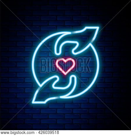 Glowing Neon Line Pleasant Relationship Icon Isolated On Brick Wall Background. Romantic Relationshi