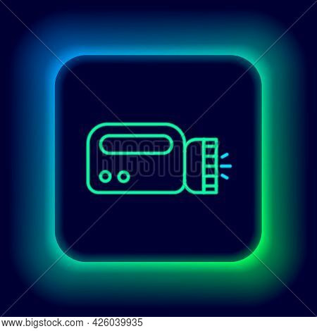 Glowing Neon Line Flashlight For Diver Icon Isolated On Black Background. Diving Underwater Equipmen