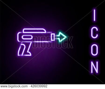 Glowing Neon Line Fishing Harpoon Icon Isolated On Black Background. Fishery Manufacturers For Catch