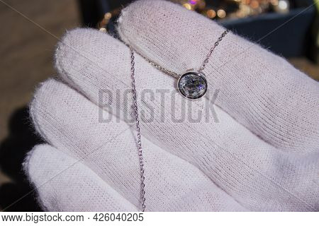 Diamond Necklace In The Jewelry Store Set Used For Shooting A Movie