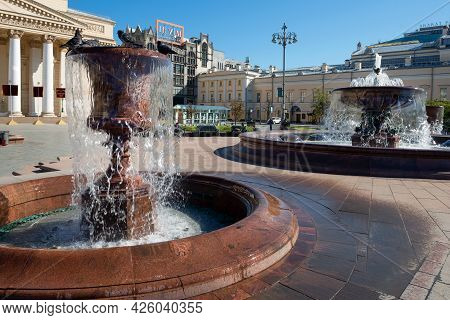 Moscow, Russia - 10 May 2021:  View Of The Fountains On The Square In Front Of The Bolshoi Theatre (