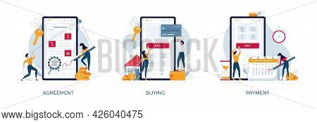 Mortgage Illustration Set. Loan Agreement Signing, House-buying, Monthly Payment. Banking, Real Esta