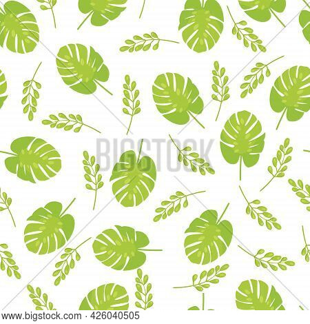 The Seamless Exotic Pattern Of Tropical Monstera Leaves. Vector Illustration