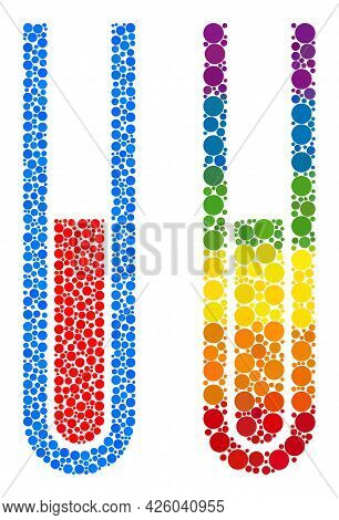 Blood Test Tube Composition Icon Of Circle Spots In Different Sizes And Spectrum Color Tones. A Dott