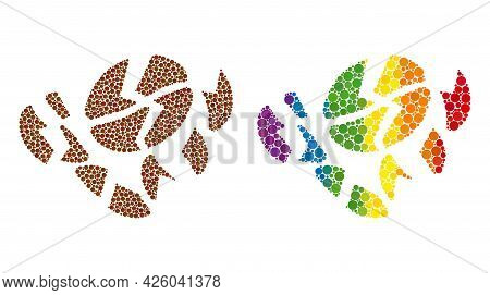 Coffee Bean Destruction Composition Icon Of Filled Circles In Various Sizes And Rainbow Colored Shad