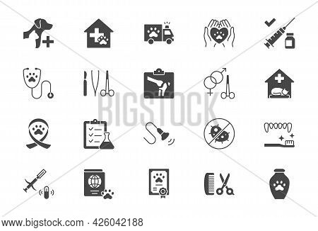 Veterinary Flat Icons. Vector Illustration Include Icon - Stethoscope, Grooming, Xray, Ultrasound, V