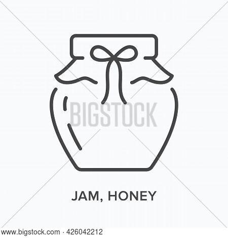 Jam, Honey Flat Line Icon. Vector Outline Illustration Of Jelly Pot. Black Thin Linear Pictogram For