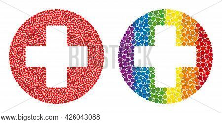 Healthcare Composition Icon Of Spheric Blots In Different Sizes And Rainbow Bright Color Tones. A Do