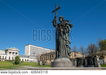 Moscow, Russia - 10 May 2021: Monument To The Holy Equal-to-the-apostles Prince Vladimir Svyatoslavi