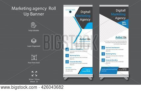 Corporate Business Stand Banner Or Roll Up Template With Abstract Design . Informative X-banner For