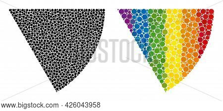 Circle Sector Mosaic Icon Of Circle Elements In Different Sizes And Rainbow Colorful Color Hues. A D