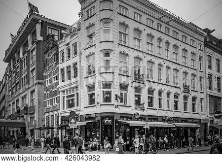 Amsterdam, Netherlands. June 06, 2021. Grand Hotel, Bavaria Cafe Facades.