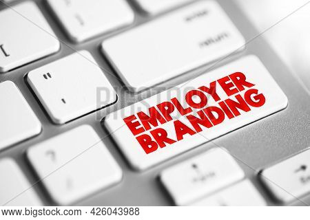 Employer Branding Text Button On Keyboard, Concept Background