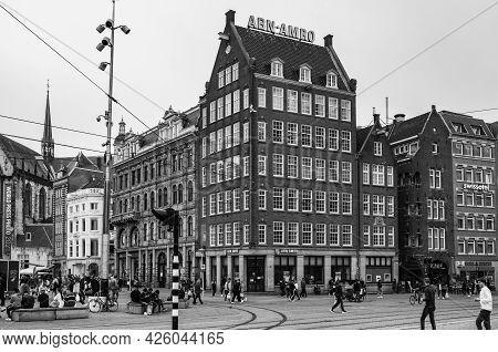Amsterdam, Netherlands. June 06, 2021. Dam Square. Abn Amro Facade