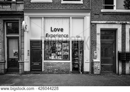 Amsterdam, Netherlands. June 06, 2021. Red Light District. Sexshop Love Experience Facade