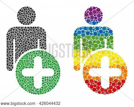 Add Man Figure Collage Icon Of Circle Elements In Various Sizes And Spectrum Colored Color Tones. A