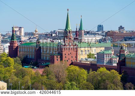 Aerial View Of The Moscow Kremlin And The Grand Kremlin Palace On A Spring Day