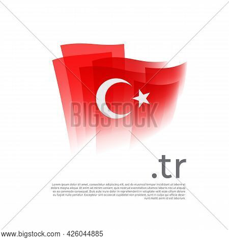 Turkey Flag. Vector Stylized Design National Poster On A White Background. Turkish Flag Painted With