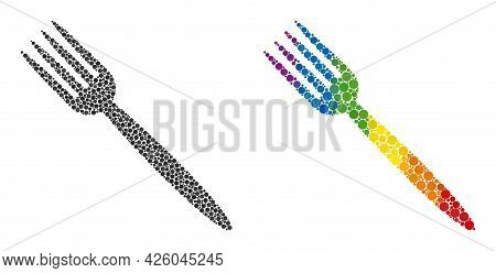 Fork Composition Icon Of Circle Spots In Different Sizes And Spectrum Colored Color Hues. A Dotted L