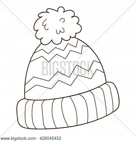 Blue Hat With A Pompom. Autumn And Winter Clothing. Design Element With Outline. The Theme Of Winter