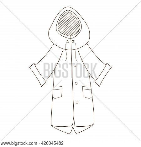 A Red Raincoat With A Hood. Autumn Outerwear. Design Element With Outline. Autumn Theme. Doodle, Han