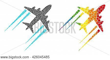 Flying Airplane Trace Composition Icon Of Circle Spots In Variable Sizes And Rainbow Colored Shades.