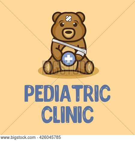 Pediatric Clinic Logo Mascot. Cute Vector Teddy Bear Is Wounded. Plush Toy Icon. Element For Hospita