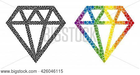 Brilliant Mosaic Icon Of Round Dots In Various Sizes And Spectrum Colorful Shades. A Dotted Lgbt-col