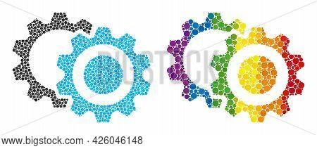 Gears Mosaic Icon Of Spheric Dots In Variable Sizes And Rainbow Colored Color Tints. A Dotted Lgbt-c