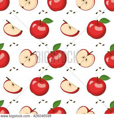 Seamless Pattern With Red Apples, Seeds And Leaves. A Cute Print With Whole And Halved Fruits. Festi