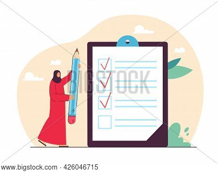 Arab Woman In Hijab Holding Giant Pencil Next To Checklist. Muslim Female Character Checking Tasks F