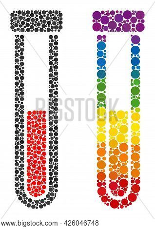 Blood Test-tube Mosaic Icon Of Circle Spots In Different Sizes And Rainbow Colored Color Tints. A Do