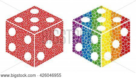 Dice Cube Composition Icon Of Circle Spots In Variable Sizes And Spectrum Multicolored Color Tints.