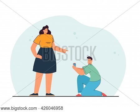 Cartoon Boyfriend Proposing To Girlfriend. Man Kneeling In Front Of Woman, Holding Box With Ring Fla